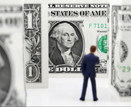 one dollar bill: Character contemplating which direction to take in a financial maze