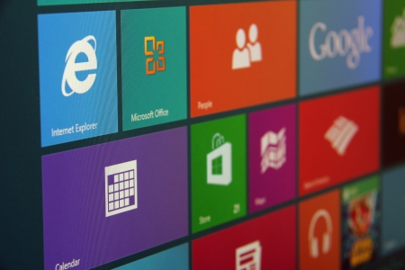 microsoft: Windows 8 start screen shot at an angle.