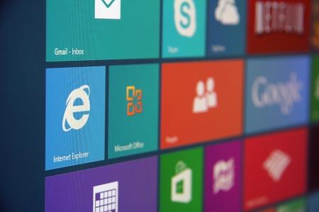 角度のついた: Windows 8 の角度のショットは、画面を開始します。