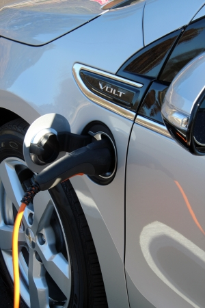 plug in: Close up of a Chevy Volt plugged in.