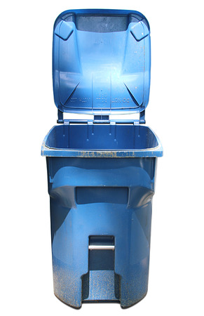 Isolated blue trash can with the lid open.
