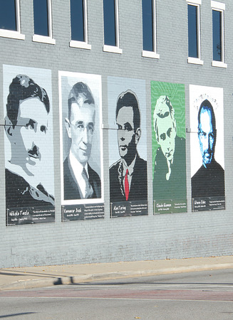 steve: Mural of famous people. Nikola Tesla, Vannever Bush, Alan Turing, Claude Shannon, and Steve Jobs.