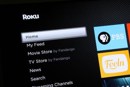 Close up of a Roku menu screen. Editorial