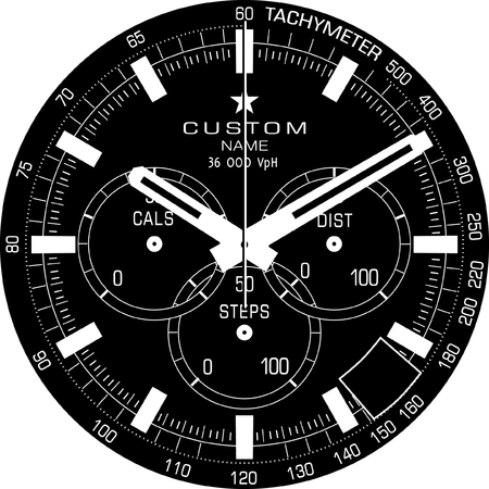 Vector template for a customisable smart watch face.