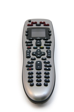 Photo of a universal remote controller over a white background.