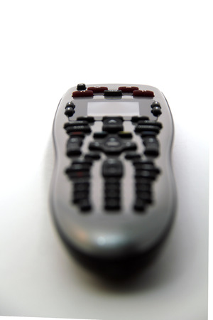 Rear perspective photograph of a universal remote.