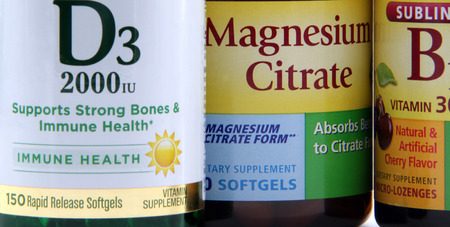View of vitamin D3 and Magnesium labels.