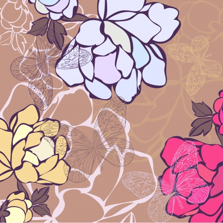 Vector illustration of a background in flowers and butterflies  Vector