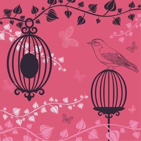 The vector illustration of Birdcage and butterflies  Vector
