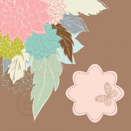 Vintage Flower Background, vintage card Vector