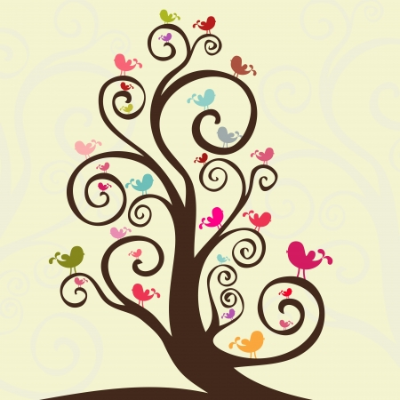 Cute birds model design, in a spring season garden Vector