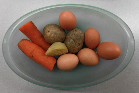 Boiled   eggs  and  vegetables  in  a glass plate Stock Photo - 11789851