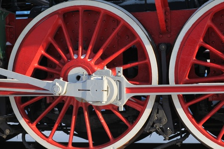 flywheel: The wheels of the old steam locomotive, a fragment, close-up Stock Photo