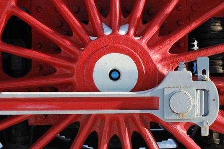 Die Räder der alten Dampflok, ein Fragment, close-up