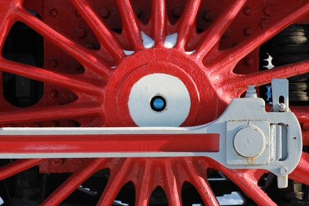 The wheels of the old steam locomotive, a fragment, close-up Stock Photo