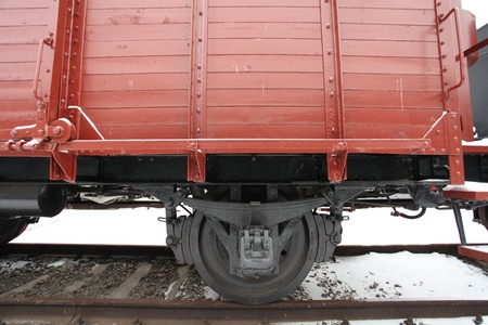 fragment of an old railway car at the station