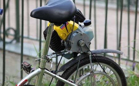 original bike: homemade, bicycle with a motor of the lawnmower, fragment