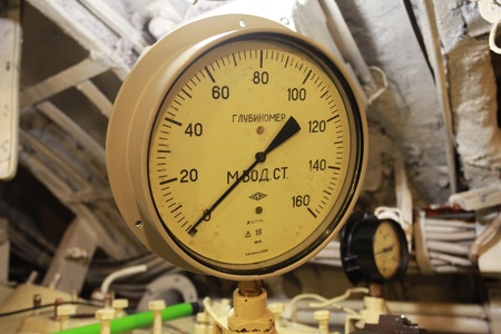 depth measurement: Depth meter on board Russian submarine Editorial