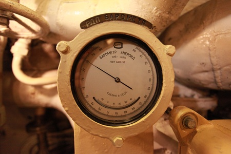 Aneroid barometer on board the submarine
