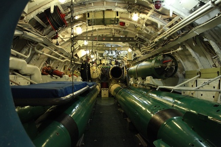 torpedo compartment on board the Russian submarine Editorial