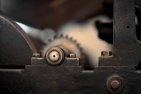 toothed:  mechanism of gear wheels Stock Photo