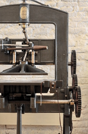 printing press: Oldest Mechanical hand tools printing press Stock Photo