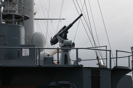 gunnery: Anti-aircraft cannon aboard the old warship