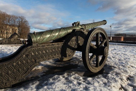 The old medieval bronze cannon on the gun carriage Stock Photo - 12857075