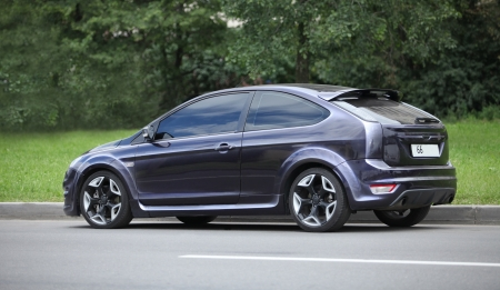 Ford Focus Coupe street racing car side view Stock Photo