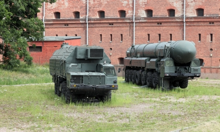 ballistic: Russian The mobile Topol missile launcher Topol  in position