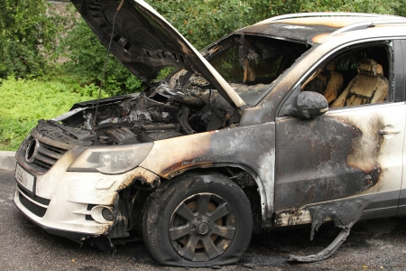 trashed: car set on fire