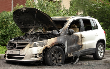 trashed: arson street crime set on fire car Volkswagen