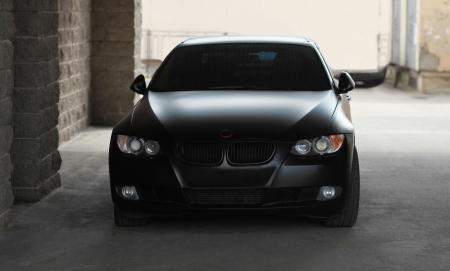 car front view: the black car - a front view