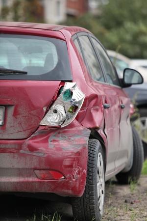 broken back: crashed the car on the roadside Stock Photo
