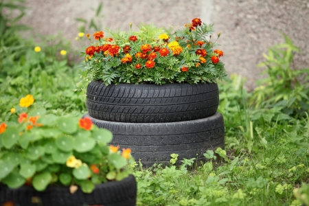 floral flowerbed of old automobile tires