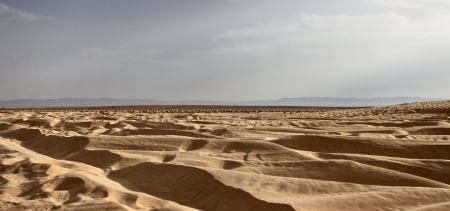 view of the Sahara desert before sunset Stock Photo