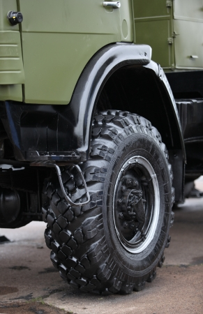 wheel all terrain military truck Stock Photo