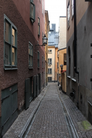 cityscape, street in old town Stockholm in the autumn