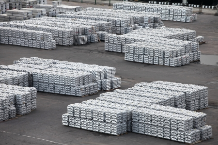 raw materials: the non-ferrous metal ingots  storage in the port
