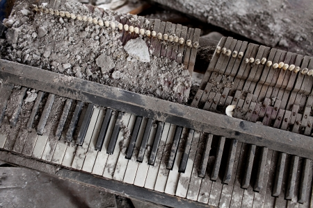demolishing: explosion of destroyed by the piano