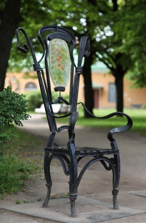 The metal Garden chair  in the garden photo