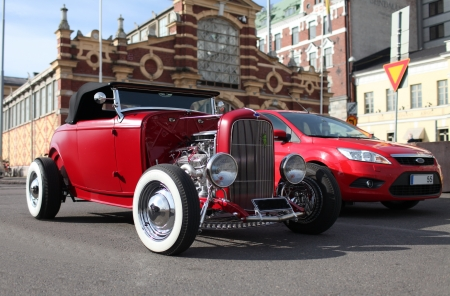 Classic 1932 Ford Hot Rod. Roadster past and present Editorial