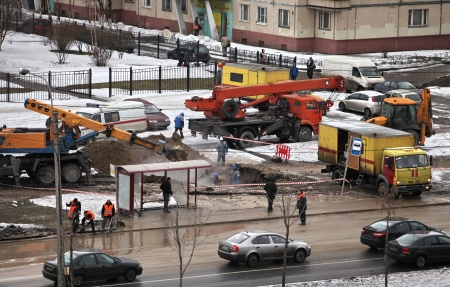 St. Petersburg, Russia, February 1,03, 2013.  accident at the municipal pipeline in the winter