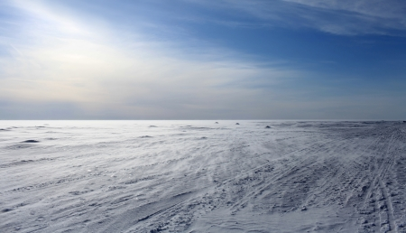 Wind gefrorene Meer sah aus wie weiße Schneewüste Lizenzfreie Bilder