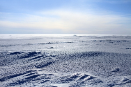 frozen sea looking like white snowy desert