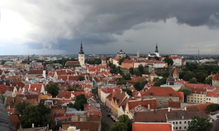 red tile roof top view of the medieval town Tallinn, Estonia photo