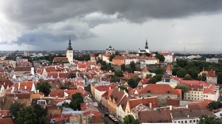 aerial view red tile roof of the medieval town Tallinn, Estonia photo
