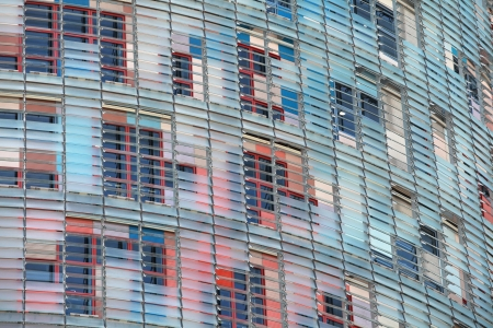 jalousie: modern building with solar blinds