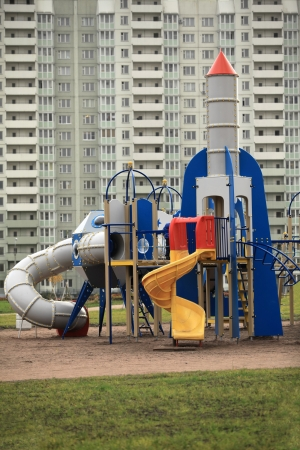 spaceport: The gaming rocket and spaceport   in the playground Stock Photo
