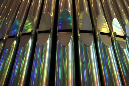 front view of silver organ pipes  Stock Photo